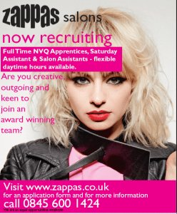 hairdresser apprenticeships, zappas hair salons